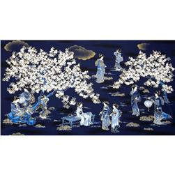 Oriental Traditions Panel Metallic Scenic Allover Indigo