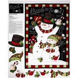 Christmas Hooray for Snow Panel Black