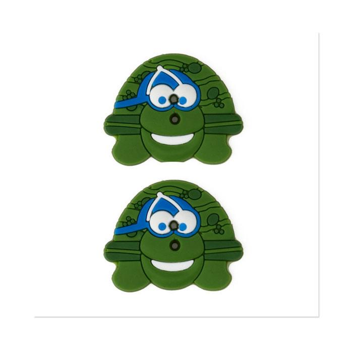 Novelty Button Rubber 1'' Turtle Green/Multi
