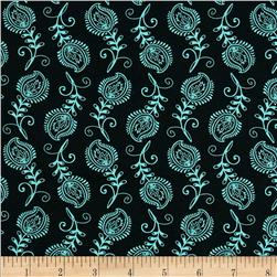 Contempo Feathers Black/Aqua