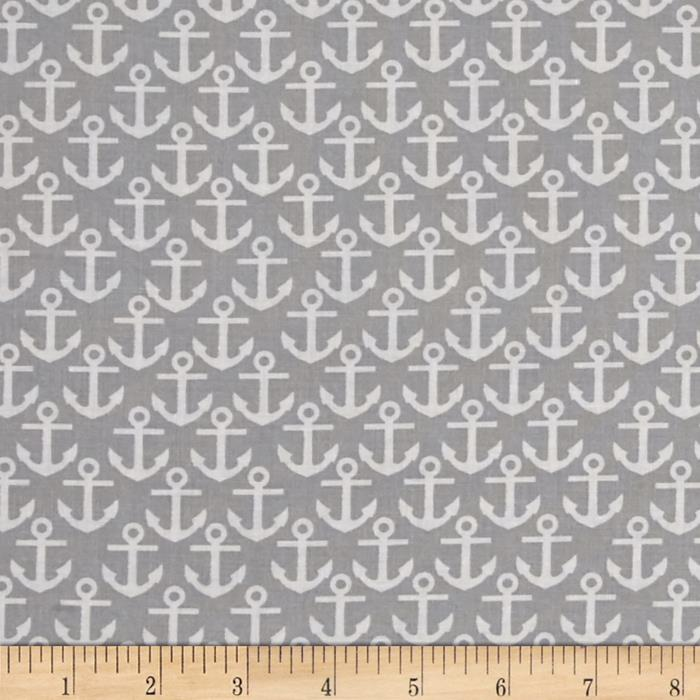 Nautical Treasure Anchors Gray