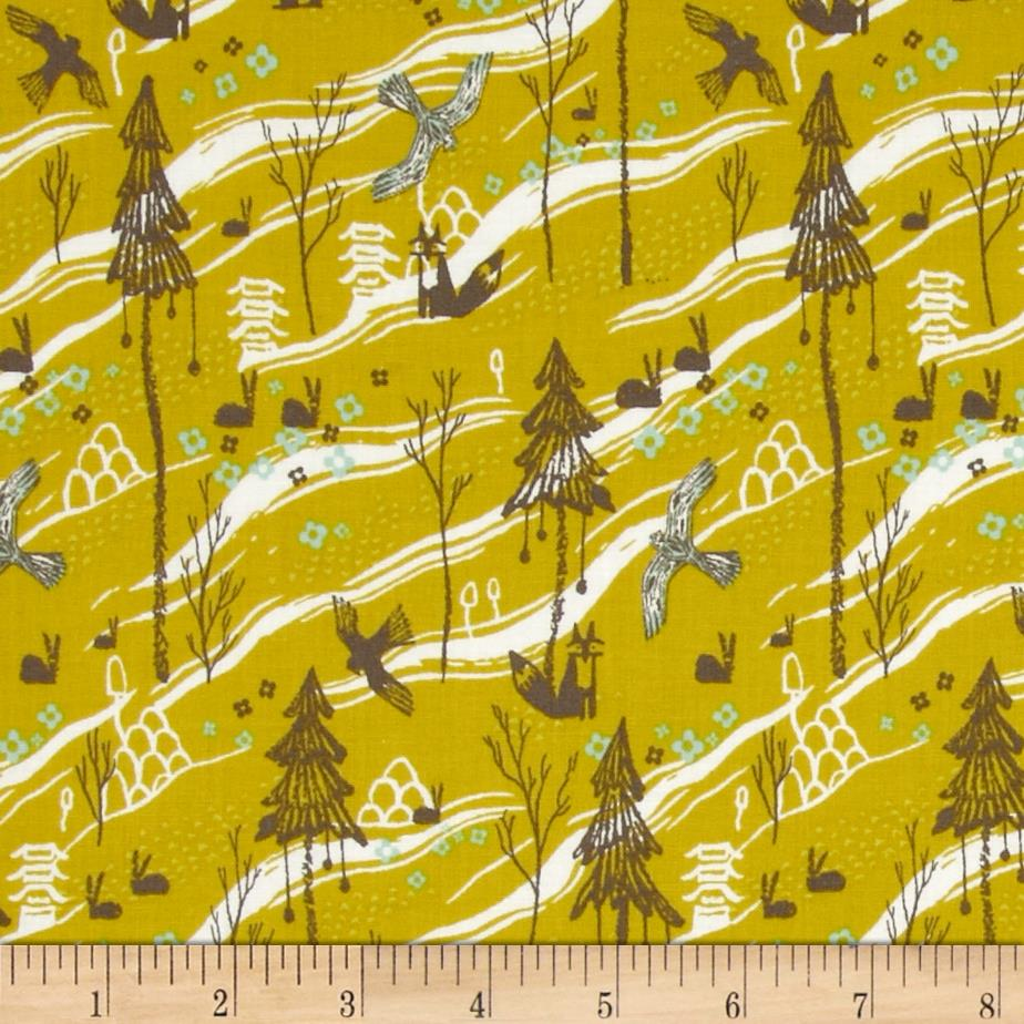 Cotton steel tokyo train ride kamakura mustard for Train print fabric