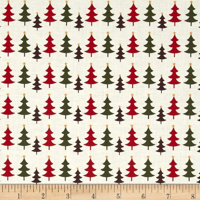 Fabric Freedom Christmas Character Little Trees Red