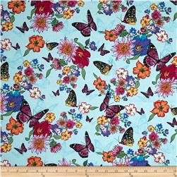 Timeless Treasures Lauren Butterflies Aqua