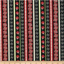 Debbie Mumm Jolly Christmas Ticking Stripe Black Fabric