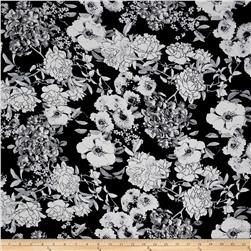 Bubble Crepe Floral Black/Ivory