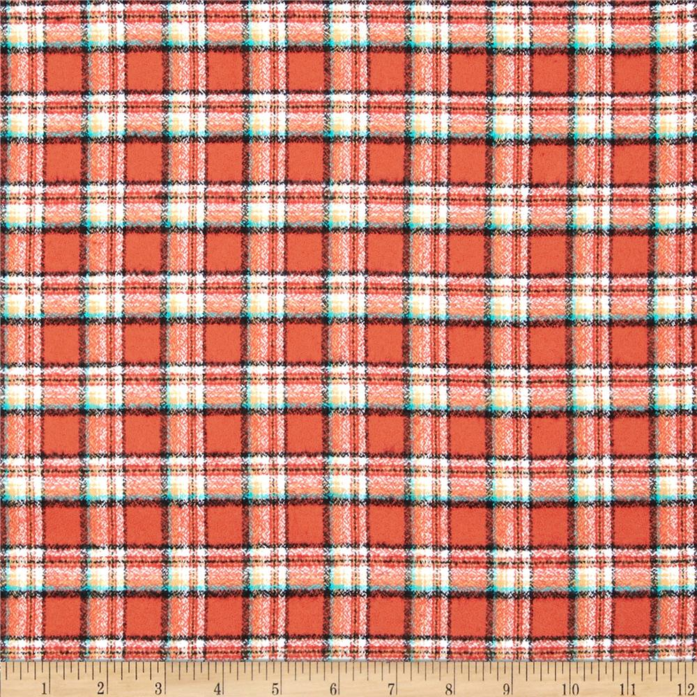 Kaufman Mammoth Flannel Plaid Papaya Fabric By The Yard