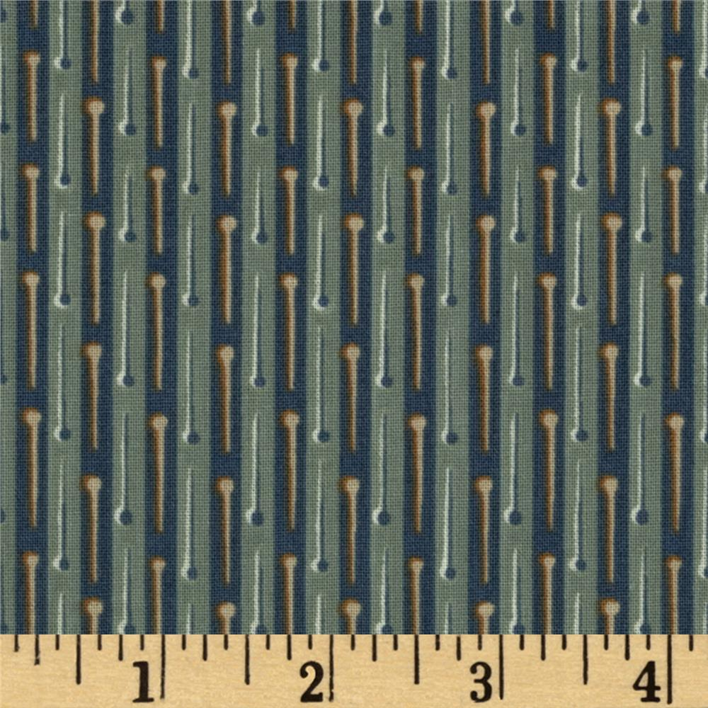 Button Tree Lane Pin Stripe Dark Teal