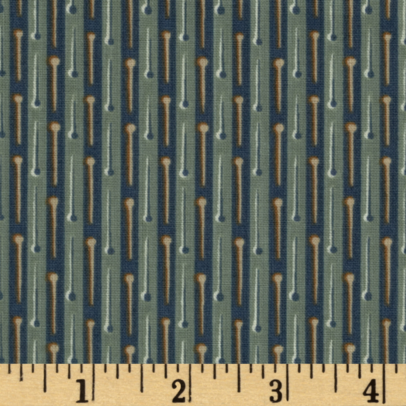 Button Tree Lane Pin Stripe Dark Teal Fabric