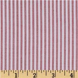 Kaufman Career Oxford Stripe Red Fabric