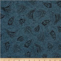 Sea Treasures Sailboat Toile Dark Blue