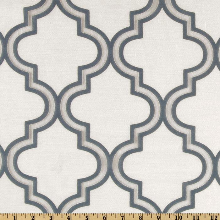 Softline Penrose Tile Burnout Drapery Sheers Blue/White