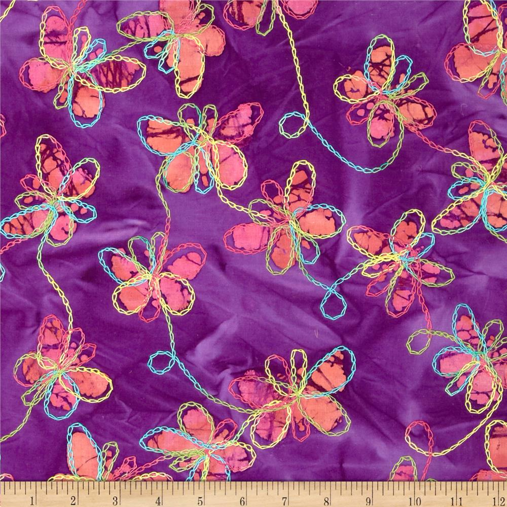 Embroidered Indian Batiks Butterfly Purple