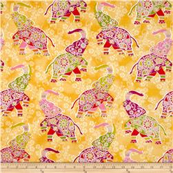 Bombay All Over Elephants Yellow