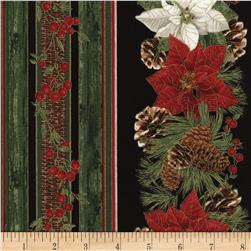 Timeless Treasures Country Christmas Metallic Poinsettia Border Black