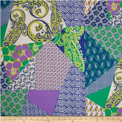Cotton Lawn Crazy Patch Blue/Green/Purple