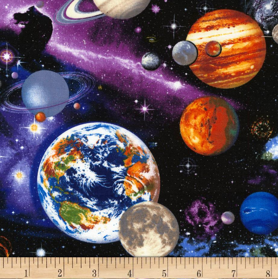 Timeless treasures the universe multi discount designer for Fabric planets solar system