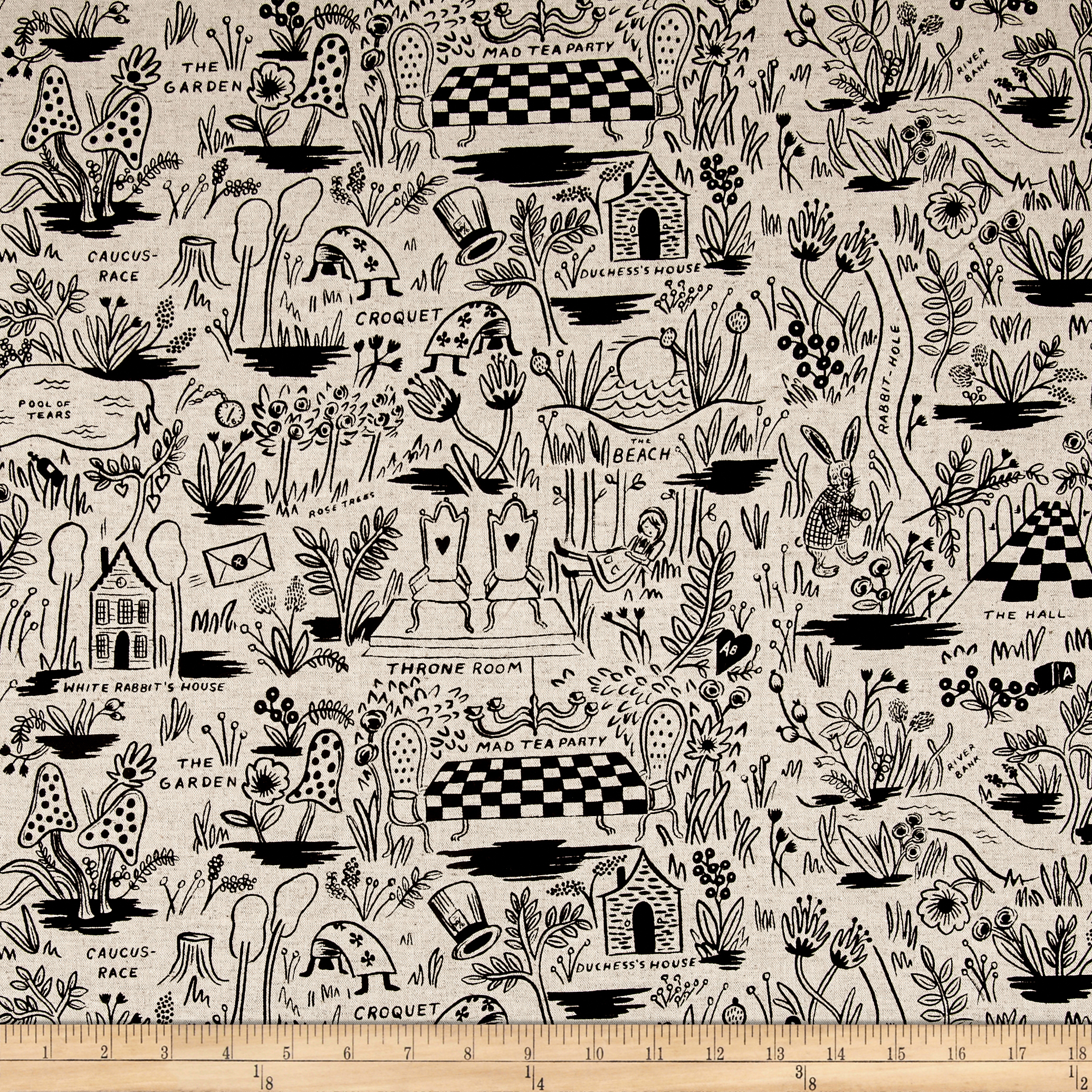 Image of Cotton + Steel Rifle Paper Co. Wonderland Canvas Magic Forest Natural Fabric