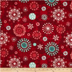 Chalkboard Snowman Medallion Snowflake Red Fabric