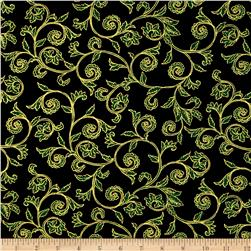 Noel Metallic Scroll Black/Green