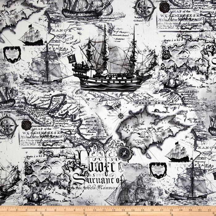 Kanvas Buried Treasure Nautical Map Black/White