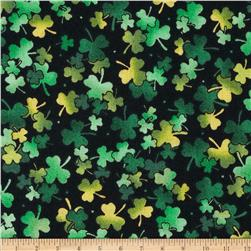 A Wee Bit Irish Shamrocks Black