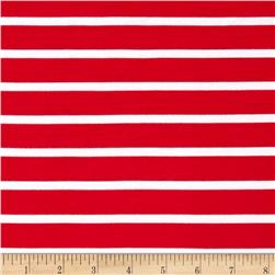 Riley Blake Stretch Cotton Jersey Knit Stripe Red