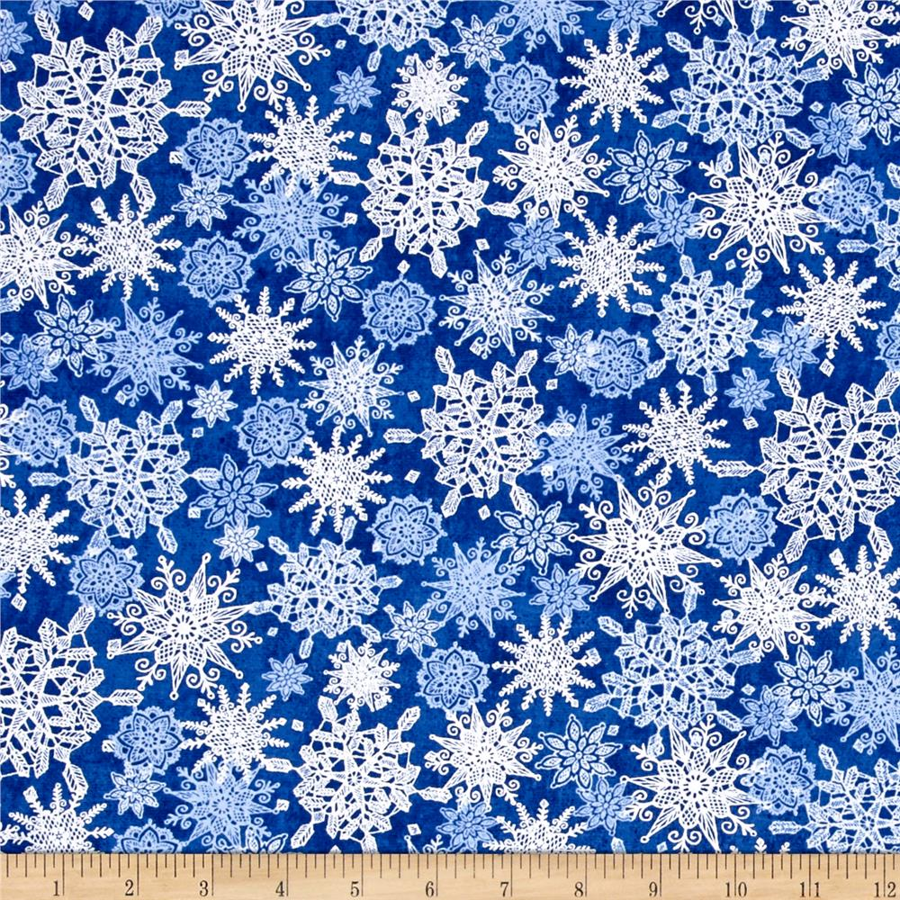 Winter Frost Snowflakes Navy