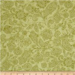 Moda Snowfall Prints Paisley Toile Garland Green