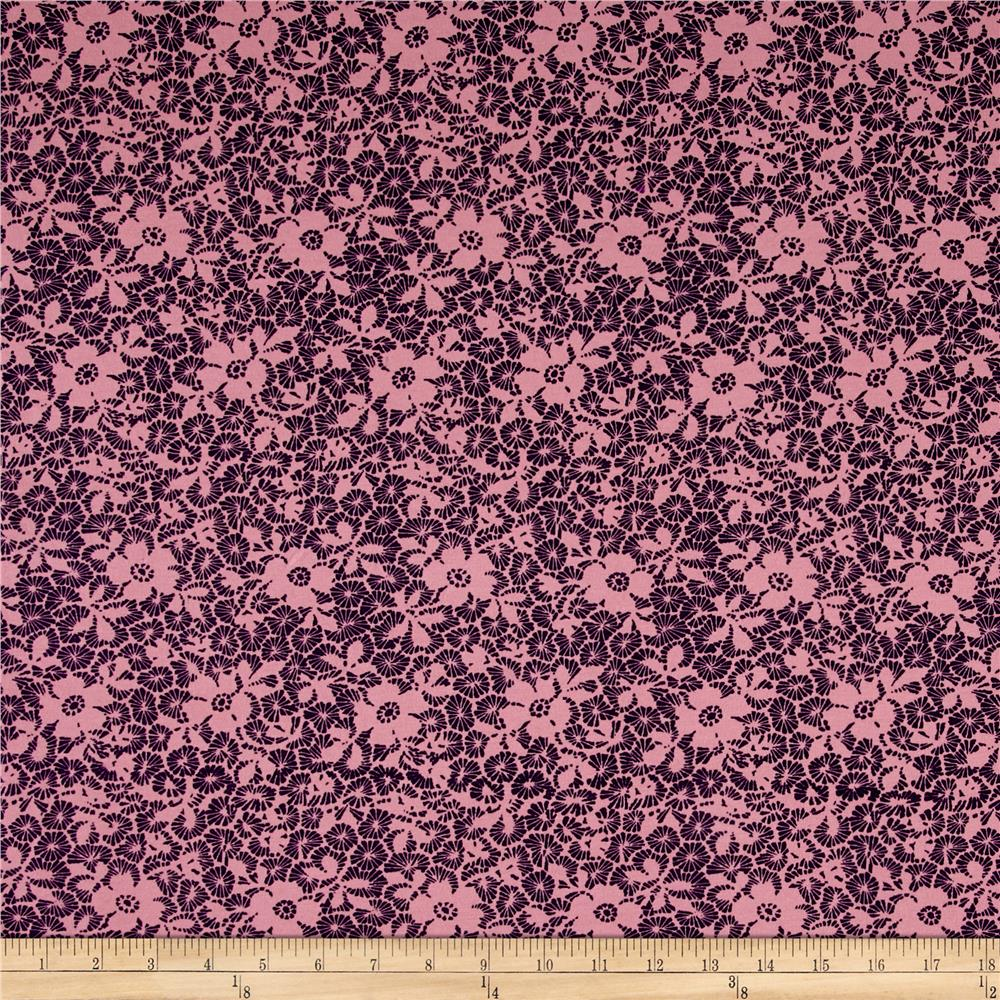 Cotton Lycra Spandex Jersey Knit Floral Pink Fabric