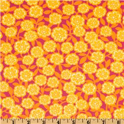 Timeless Treasures  Sunny Daze Laminated Cotton  Flowers Pink