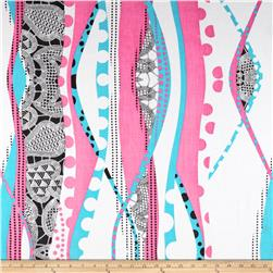 Cotton Lawn Waves Blue/Pink/Black/White