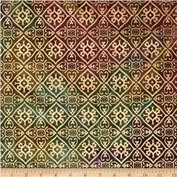 Indian Batik Tribal Diamond Metallic Rose/Green
