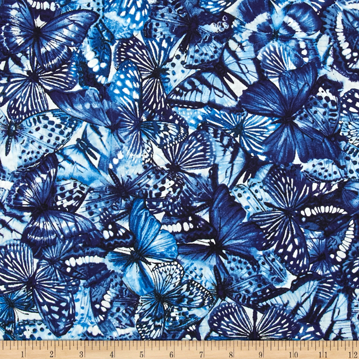 Butterfly Forest Collage Blue Fabric