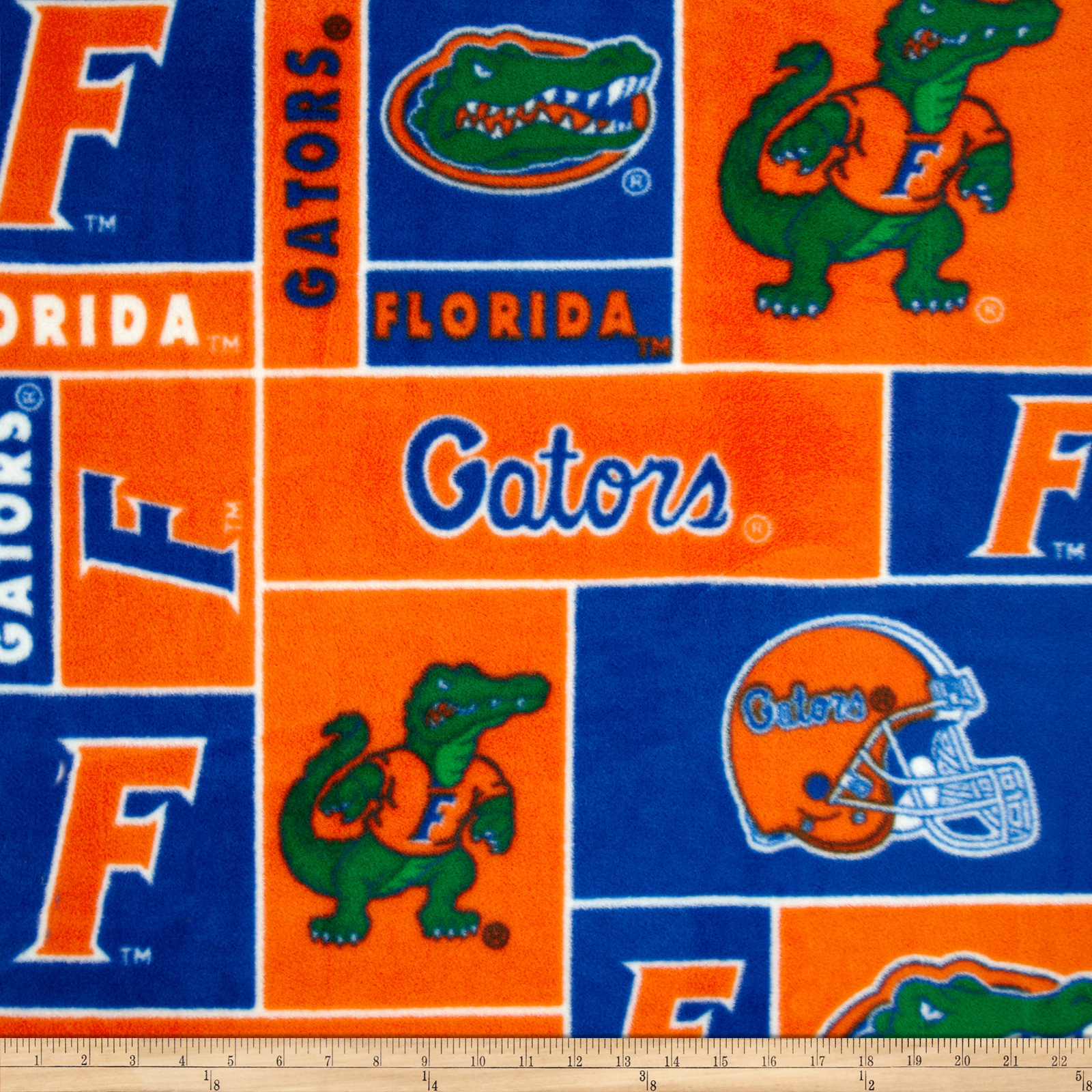 Collegiate Fleece University of Florida Blocks Orange/Blue Fabric