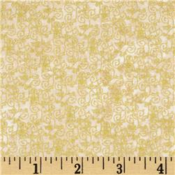 Marblehead Glistening Christmas II Small Floral Scroll Cream