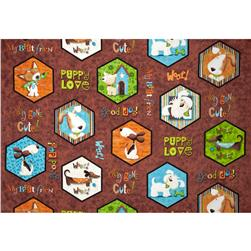 Puppy Love Hexagon Puppy Patches Brown Fabric