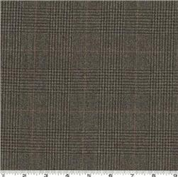 Worsted Wool Suiting Glen Plaid Charcoal Grey