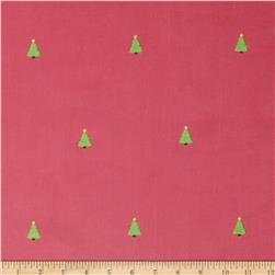 Embroidered 21 Wale Corduroy Tree Hot Pink/Green