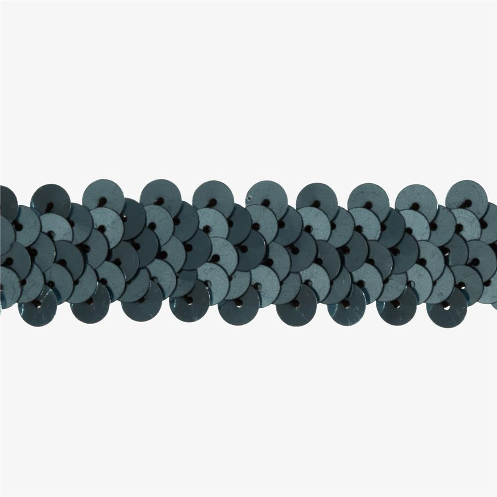 "7/8"" Metallic Stretch Sequin Trim Gunmetal"