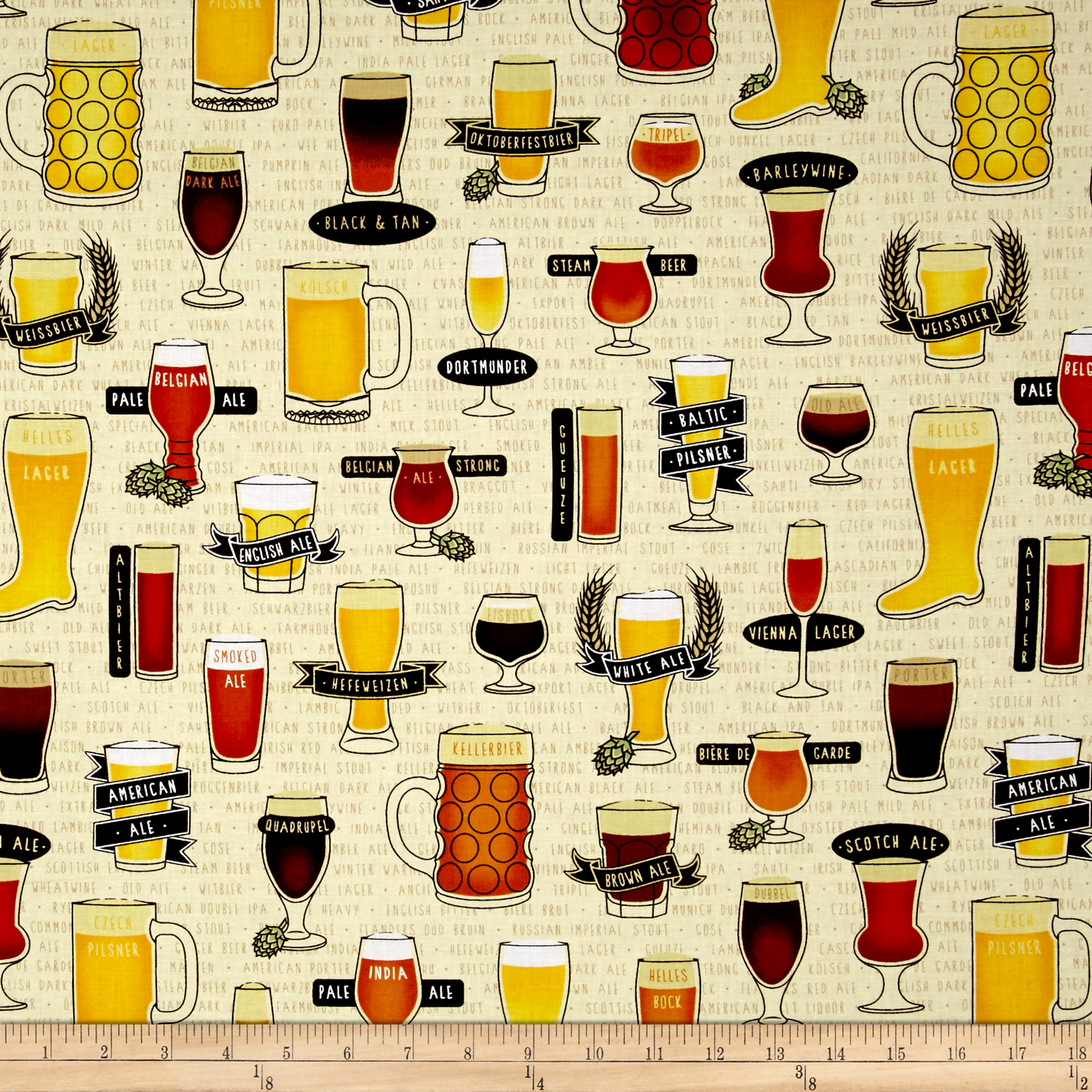 Image of In Doubt Drink Stout Craft Beer Allover Light Wheat Fabric