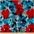 Telio Brazil Stretch ITY Knit Floral Red/Blue