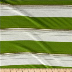 Yarn Dyed Jersey Knit Metallic Striped Lime/Ivory