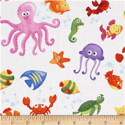 Little Mermaids Sea Creatures White/Multi