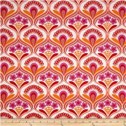 Kaufman Auntie's Attic Mod Floral Stripe Canvas Sunset