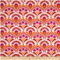 Robert Kaufman Auntie's Attic Mod Floral Stripe Canvas Sunset