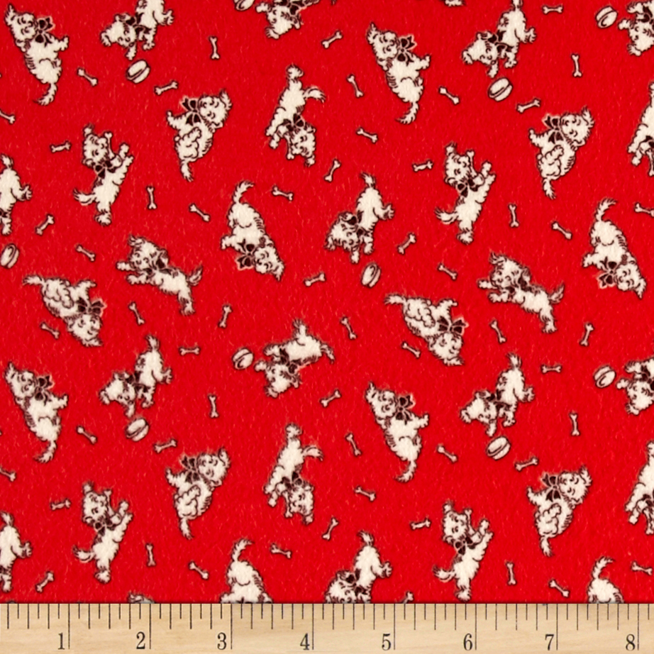 Storybook Flannel Give a Dog a Bone Red Fabric