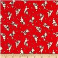 Storybook Flannel Give a Dog a Bone Red