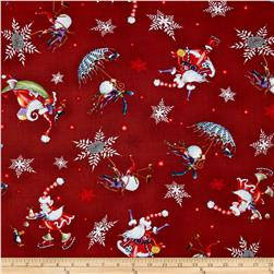 More Merriment Flying Santa/Snowmen Red