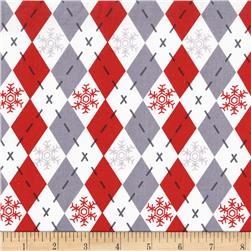 Michael Miller Woodland Winter Argyle Sweater Santa